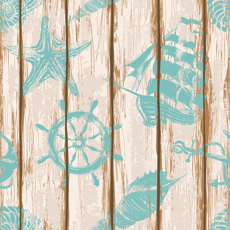 Old boards of ship deck seamless pattern painted by anchor, wheel, seashell, starfish and sailboat print