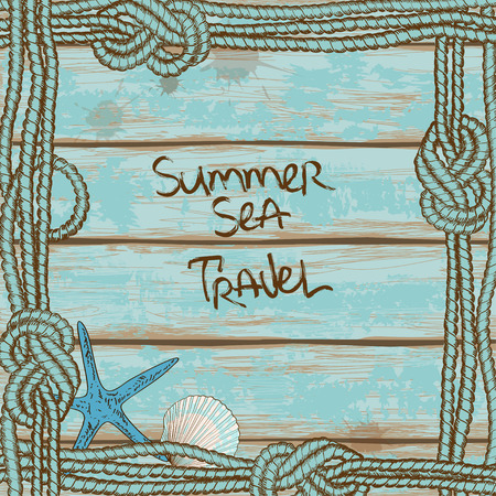 Hand drawn retro boards of ship deck background with starfish and seashells framed by ropes Vector