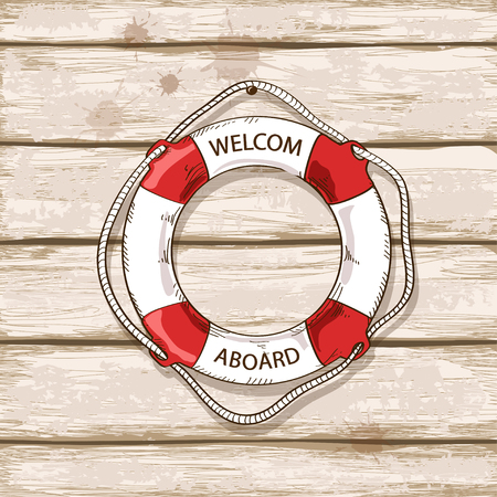 Hand drawn lifebuoy on old boards of ship deck background Vector