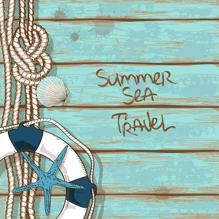 Hand drawn retro boards of ship deck background with lifebuoy, rope, starfish and seashell