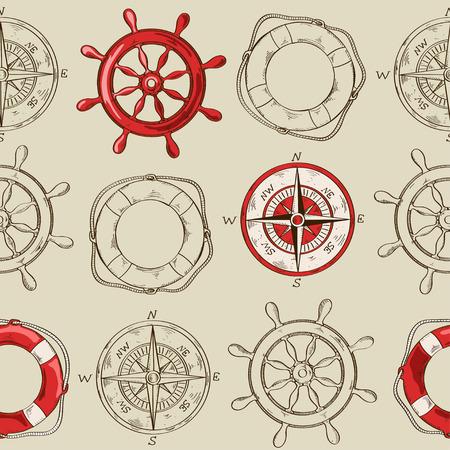 Nautisch gestreept naadloos patroon van het wiel, kompas en reddingsboei Stock Illustratie
