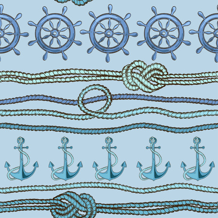 Nautical seamless pattern of anchor, wheel and rope with marine knots Vector