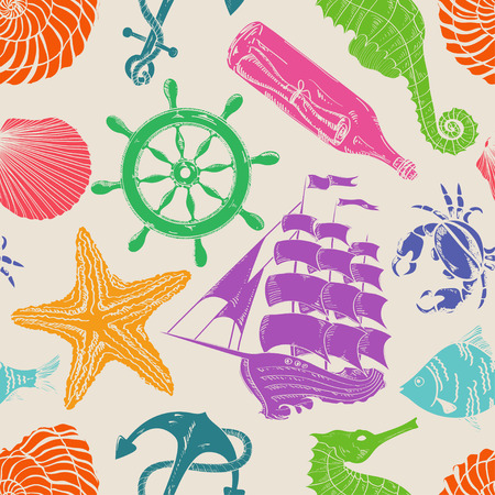 Nautical blue hand drawn seamless pattern  Vector