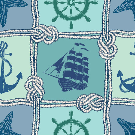 Nautical patchwork seamless pattern with ropes, starfish, sailing ship, anchor and wheel Çizim