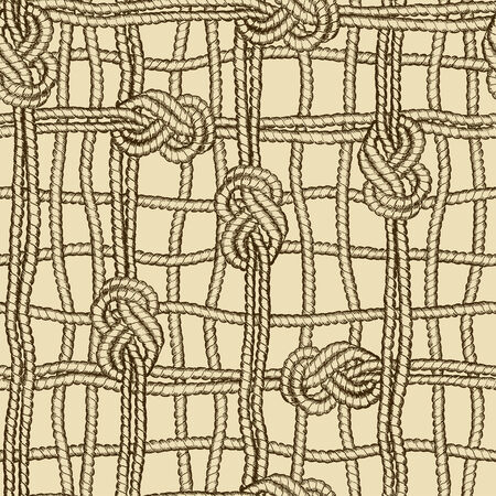 Hand drawn nautical seamless pattern of ropes grid with marine knots Vector