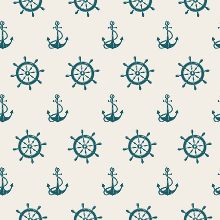 anchor drawing: Retro seamless pattern of blue sea anchors and wheels