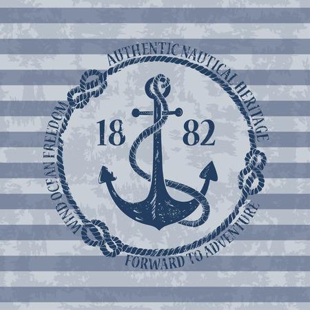 ancre marine: Embl�me nautique de cru avec l'ancre sur un fond ray�