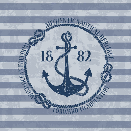 Vintage nautical emblem with anchor on a striped background Vector