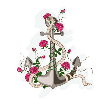 手描きのばら色の花の絡んだロマンチックな海アンカーの図