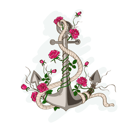 rose tattoo: Hand drawn illustration of romantic sea anchor entwined with rose flowers