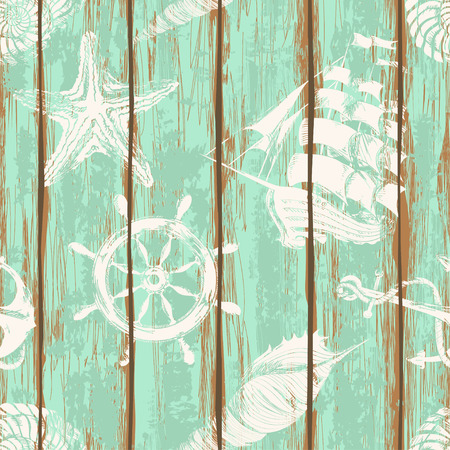 Old boards of ship deck seamless pattern painted by anchor, wheel, seashell, starfish and sailboat print Vector