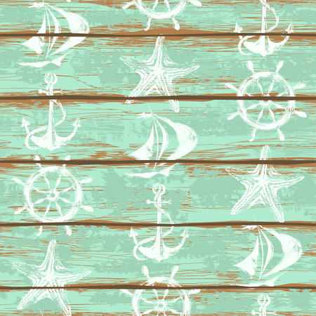 Old boards of ship deck seamless pattern painted by anchor, wheel, starfish and sailboat print