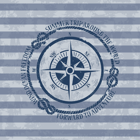 Vintage nautical emblem with compass on a striped background Vector