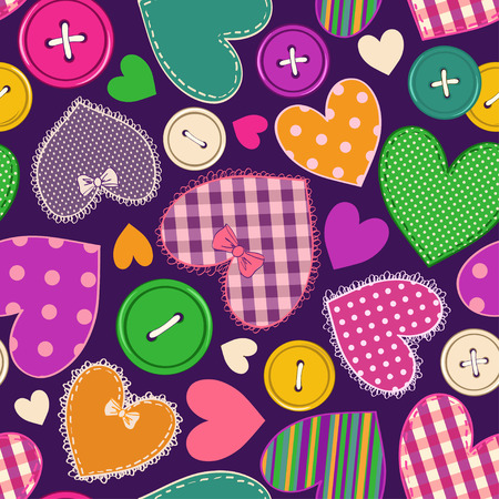 Seamless pattern of fancy colorful heart patchworks and buttons  Vector