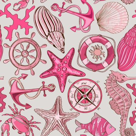 바다 동물 및 항해 요소의 만화 손으로 그린 원활한 패턴 일러스트