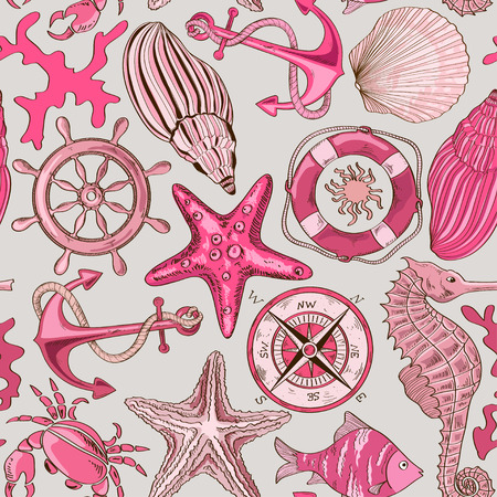 Cartoon hand drawn seamless pattern of sea animals and nautical elements Vector