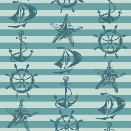 anchor drawing: Retro nautical seamless pattern with ship, wheel, anchor and starfish on a striped background Illustration