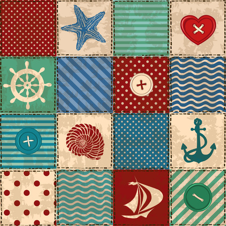 seashell: Nautical patchwork seamless pattern with seashell, starfish, anchor, wheel, sailboat and buttons