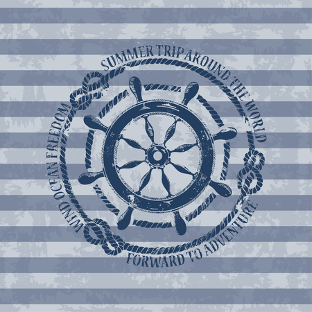 Vintage nautical emblem with sea wheel on a striped background Vector