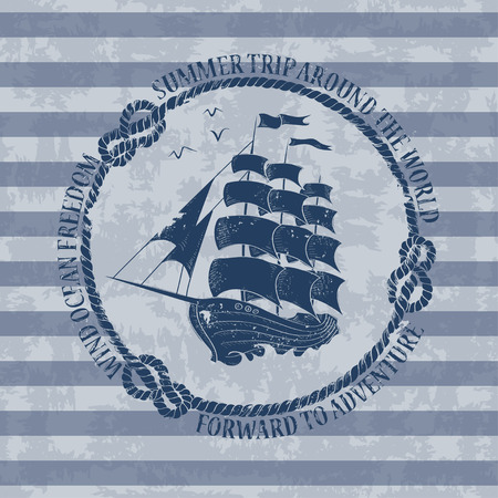Vintage nautical emblem with sailing ship on a striped background Vector