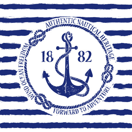 navy blue background: Blue white nautical emblem with anchor on a striped background