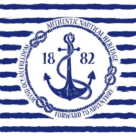 ancre marine: Emblème nautique blanc bleu avec l'ancre sur un fond rayé