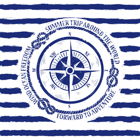 compas de dibujo: Emblema náutico blanco azul con brújula sobre un fondo de rayas Vectores