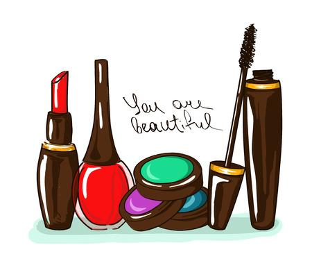 Hand drawn illustration with decorative cosmetics Vector