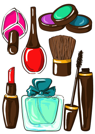 Hand drawn set of isolated cosmetics icons Vector