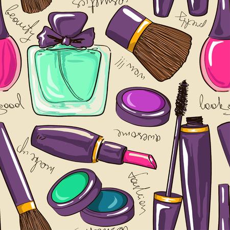 lipstick brush: hand drawn seamless pattern of decorative cosmetics Illustration
