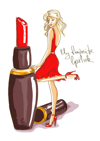 Hand drawn illustration with beautiful girl standing by a big red lipstick Vector