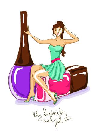beauty women: Ilustraci�n Dibujado a mano con hermosa ni�a sentada en una botella de esmalte de clavo grande