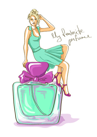 Hand drawn illustration with beautiful girl sitting on a big perfume bottle Vector