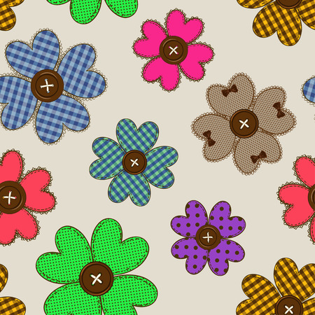 hand craft: Seamless pattern of fancy flower patchworks and buttons