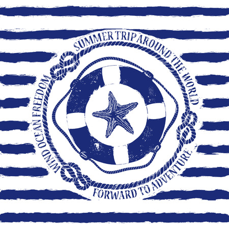 Blue white nautical emblem with lifebuoy and starfish on a striped background Illustration