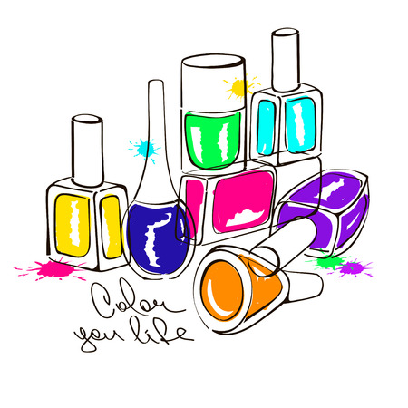 Hand drawn illustration with colorful nail polish bottles