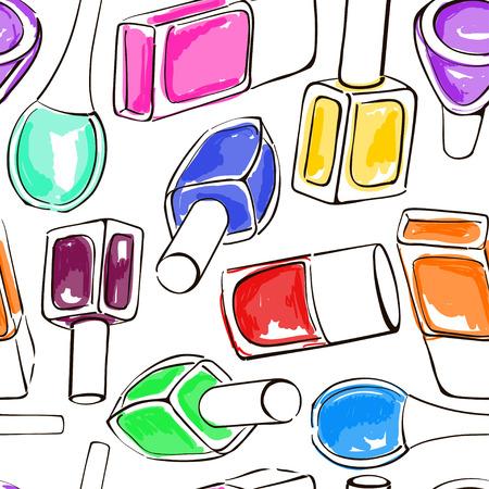 手のシームレスなパターンは、カラフルなマニキュアのボトルを描画