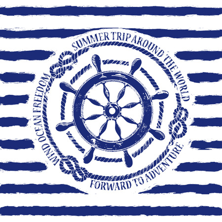 Blue white nautical emblem with sea wheel on a striped background Vector