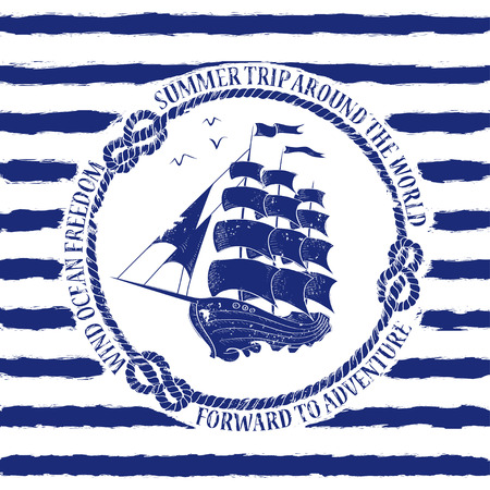 Blue white nautical emblem with sailing ship on a striped background Vector