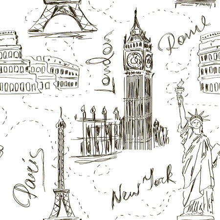 빅 벤, 에펠 탑, 콜로세움 및 자유의 여신상과 스케치 원활한 패턴