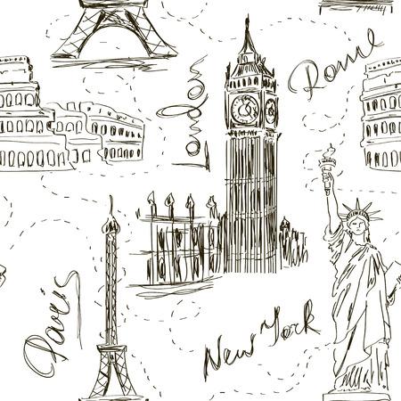 Schets naadloze patroon met de Big Ben, de Eiffeltoren, het Colosseum en het Vrijheidsbeeld Stock Illustratie