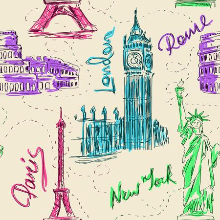 자유의 빅 벤, 에펠 탑, 콜로세움 및 동상 다채로운 스케치 원활한 패턴 일러스트