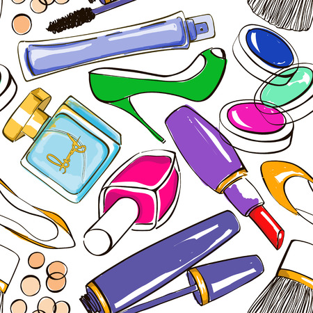 Hand drawn seamless pattern of decorative cosmetics, perfume and high-heeled shoes Vector
