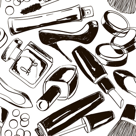 pomade: Hand drawn seamless pattern of decorative cosmetics, perfume and high-heeled shoes
