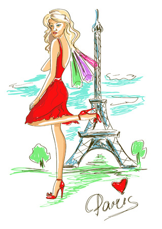 Sketch illustration of fashion girl and Eiffel Tower in Paris Vector