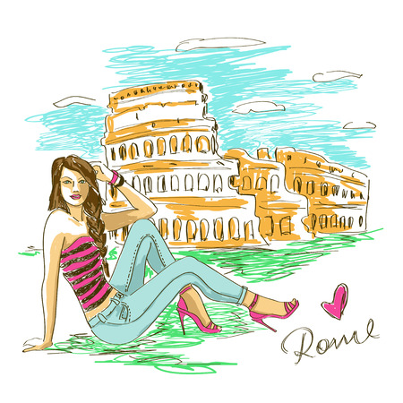 Sketch illustration of fashion girl and Colosseum in Rome Vector