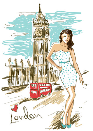 Sketch illustration of fashion girl and Big Ben In London Vector