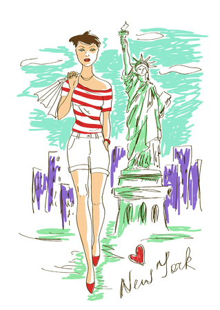 Sketch illustration of fashion girl and Statue of Liberty in New York Vector