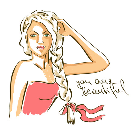 braids: Hand drawn illustration with portrait of young beautiful girl