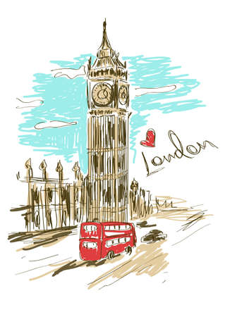 Colorful sketch illustration of Big Ben tower in London